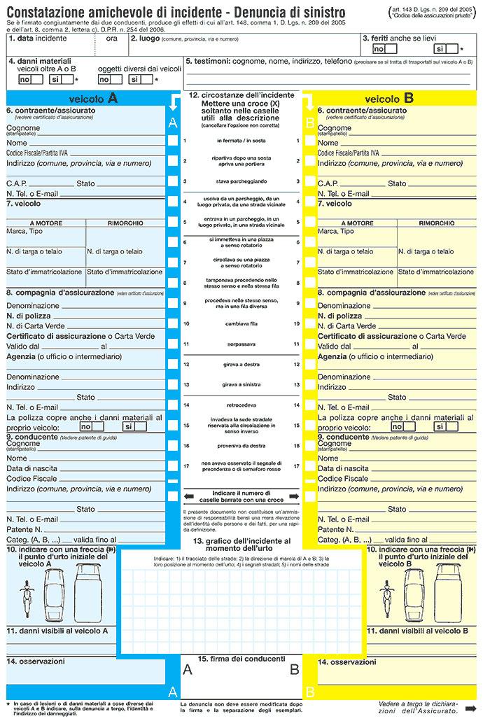 Modulo di Constatazione Amichevole (CID o modulo blu)
